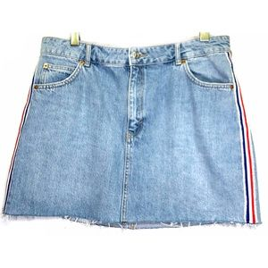 Topshop Denim Jean Skirt Frayed Hem Red White Blue